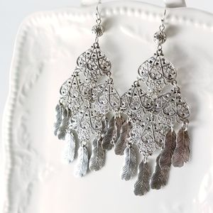 Feather Fringe Filigree Silver Chandelier Earrings